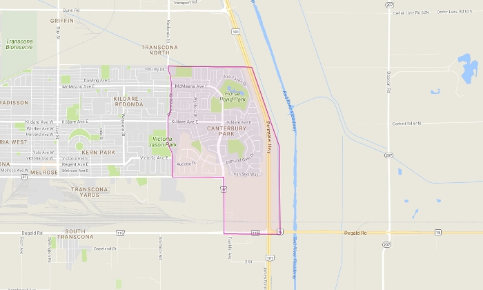 Canterbury Park, Winnipeg Map